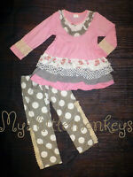 NEW Boutique Pink Ruffle Tunic Shirt & Leggings Girls Outfit Set