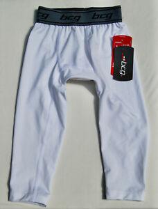 NWT bcg Boys White 3/4 Length Compression Training Leggings sz 6/7