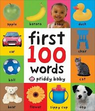 First 100 Words Book Baby Children Board Kids Learning Toddler Pictures Bright