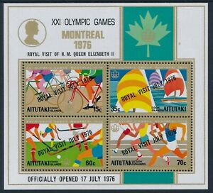 1976 AITUTAKI OLYMPICS & ROYAL VISIT OVERPRINT MINI SHEET FINE MINT MNH
