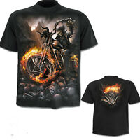 SPIRAL DIRECT WHEELS OF FIRE BLACK T SHIRT Biker Gothic Printed Bike SIZE SMALL