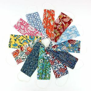 Handmade Face Mask 100% Cotton Pleated Reversible Floral Washable Covering