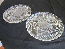 "2 Vintage Libbey Pat # 5331 Clear Glass 4 Part Relish Dish / Serving Plate 10"""