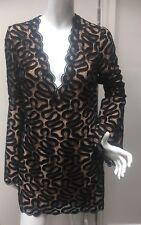 £2965 Stella Mccartney New Black Dress Uk 8 Scalloped Bell Sleeves Lace Netted S