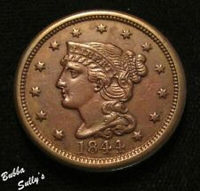 1844 Braided Hair Large Cent <> Xf to Au Details