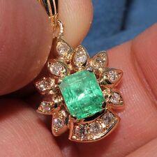 Estate 14k Yellow gold Natural Colombian Emerald & Diamond Pendant charm 1.61