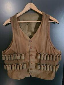 Vintage Antique Hunting Vest Shotgun Shell Ammunition Waistcoat Button Up
