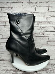 Enzo Anglioni Size 8.5 Womens Ankle Boots Black Leather High Heel Shoes Pointed