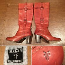 FRYE Women's Size 7 FIONA Redwood Brown Leather Heeled Tall Zip Boots Ring/Loops