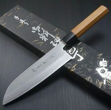 Japanese KANEHIRO AOGAMI Blue Super NASHIJI Santoku Kitchen Knife 165mm Japan