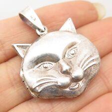 Vtg 925 Sterling Silver Cat's Head Handmade Locket Pendant