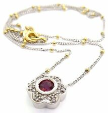 RCI 14KT SOLID WHITE YELLOW GOLD DIAMOND RUBY CIRCLE PENDANT NECKLACE BEAD #7023