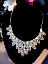 Choker Gold White Crystal Necklace Pendant Evening Formal Jewelry 48 cm Adjusts