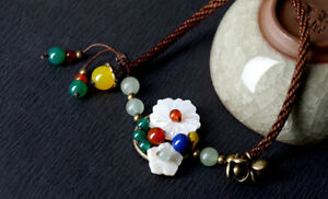 White Shell Flower with Aventurine Bead Ankle Bracelet