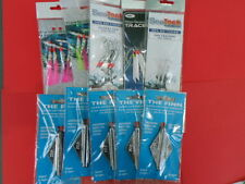 5 X 4oz FINN PLAIN LEAD LIFTING WEIGHTS + 5 MACKEREL TRACES SEA FISHING TACKLE