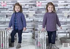 King Cole 5061 Knitting Pattern Childrens Tunic and Cardigan in Fashion Aran