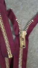 "1-ZIPPER USA Vtg/ TALON #10 Jacket/Separating Metal BRASS=21.75"" MAROON/COTTON"