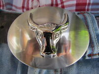 New Men Cowboy Western Metal Belt Buckle Rodeo Silver Bull Head Texas Oval