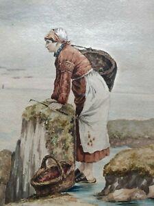 TABLEAU AQUARELLE LA BRETAGNE LA PECHEUSE BRETONNE par E. RIVIERE 1884