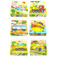 6 Sides Cartoon Car Puzzle Blocks Boys Girls Kids Wooden Educational Toy dfs