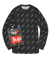 Supreme Hanes Thermal Crew (1 Pack) Black Logos (Size XL)