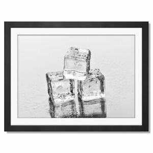 A3  - BW - Cool Ice Cubes Cocktail Framed Print 42X29.7cm #38072