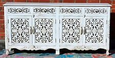 French Provincial Carved Door Shabby Chic White Sideboard Buffet Cabinet