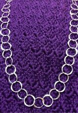 Large Hammered Circle Chain Necklace 30 Inches FREE SHIPPING