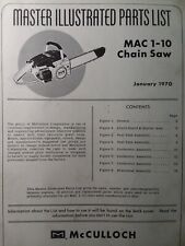 Mcculloch Chain Saw Mac 1 10 Master Parts Manual 2 Cycle Gasoline Chainsaw