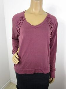Mudd Raglan V Neck Sweatshirt Size Small Maroon Lace Up Details at Shoulders
