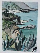 Laguna Beach Arch Original Watercolor & Ink Painting~ RAMfish Artist Montage