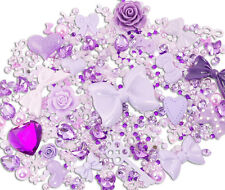 Purple sparkle 10 cabochons + 15g strass perle ensemble kit bricolage deco kawaii craft