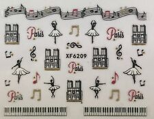 Nail Art 3D Decal Stickers Ballet Music Paris Musical Notes Piano Keys XF6209