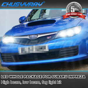 For Subaru Impreza 2008 2009 2010 2011 LED Headlight High&Low & Fog Light Bulbs