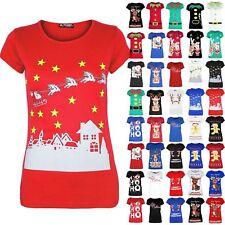 Womens Christmas T Shirt Ladies Xmas Reindeer Wall Snowfall Jersey Stretch Top