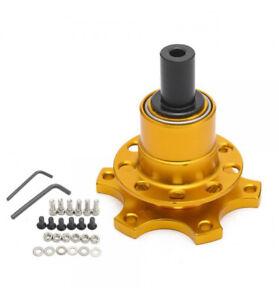 Pop Off Steering Hub Gold Deluxe 6 Hole Fixing Spline Splined Quick Release Boss