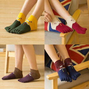 5 Pairs Women Cotton Toe Five Finger Socks Breathable Ankle Cartoon Mice Casual