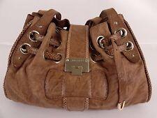 Jimmy Choo - Brown Leather Snake Trim Large Shoulder Bag Purse Handbag