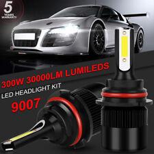 Pair 9007 HB5 300W 30000LM LED Headlight Bulbs Hi/Lo Conversion Kit 6000K Power