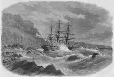 DEVON. Shipwreck, Picklecombe guns, Plymouth Sound, antique print, 1867