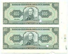 ECUADOR NOTE 100 SUCRES SPECIMEN PROOF 2 NOTES UNCUTT P 123Ap UNC