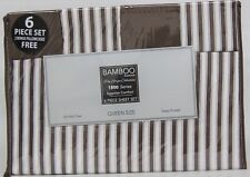 Bamboo Egyptian Comfort Series, 6 Piece Sheet Set Queen Size, Purple & White