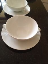 Lovely Set of Four White Porcelain German (Thomas) Soup Bowls with Saucers