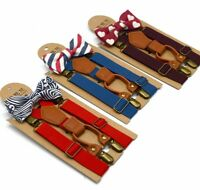 Polyester Kids Wedding Accessories Braces Elastic Adjustable Bow Tie Suspenders