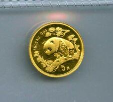 CHINA 1997 5 YUAN 1/20 OZ. .999 GOLD BU WITH RED SPOTS UNSEALED