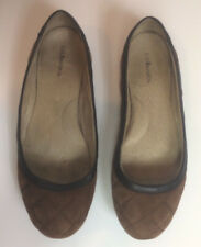 BASS Brown Quilted Nubuck Leather Ballet Flats Shoes ~ Size 8 1/2M ~ Free Ship