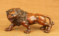 Chinese old boxwood hand carved anger lion statue netsuke collectable ornament