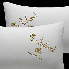 Personalised Wedding Pillow Cases Embroidered Mr and Mrs with Rings and Date