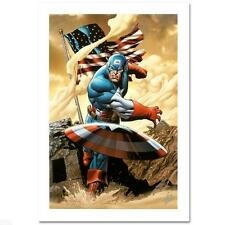 MARVEL ART CLAYTON HENRY CAPTAIN AMERICA GICLEE CANVAS LTD ED S/N BY STAN LEE