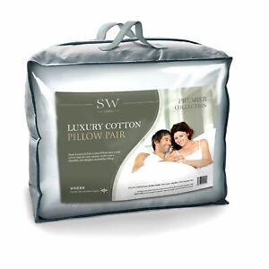 """Pair Of 100% Luxury Fine Cotton Pillows, Hollowfibre, 50cm x 75cm (20"""" x 30"""")"""